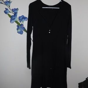 Lucky Brand L Black Knee Length Dress